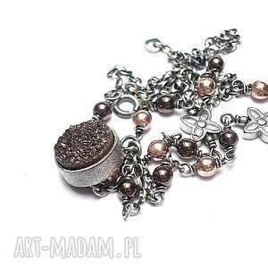 druza /chocolate/ - naszyjnik, kamienie, minerały, kwarc, druza, hematyt