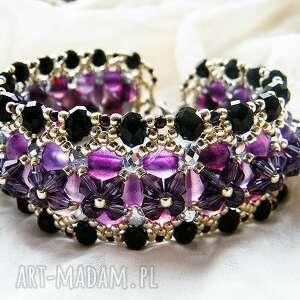 bransoletki bransoletka - agat fioletowy, kryształki, agat, toho