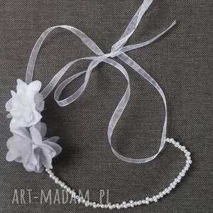 OPASKA PEREŁKOWA, opaska, perły, kwiaty, biały, ślub, komunia