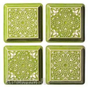 ceramika dekory z ramą jasno zielone, dekory, do-zawieszenia, ornament, dekoracja