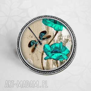 handmade broszki broszka z ważką i kwiatem