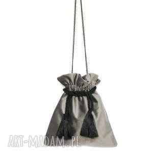 hand-made torebki bbag pouch szary torebka asksamitna