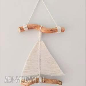 żaglówka - makrama, dekoracja ścienna, styl marynistyczny, żaglówka, łódka
