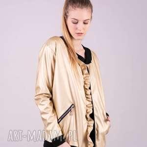 Kurtka bomberka złota trzyforu kurtki, bluzki, sukienki, bluzy