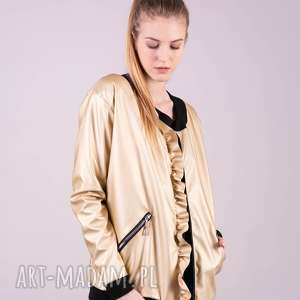 handmade kurtka bomberka złota