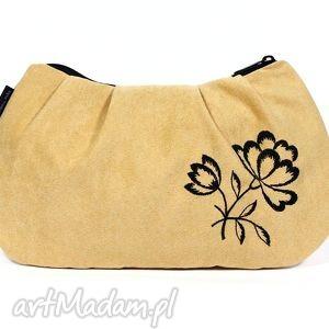 kopertówki kopertówka light gold , zamsz, haft, kwiat, wyszywana