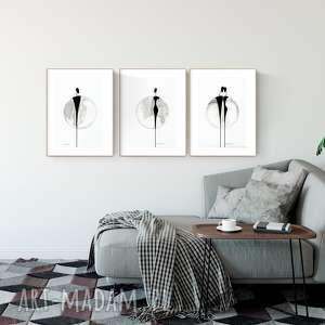 zestaw 3 grafik 30 x 40 cm malowanych ręcznie, abstrakcja, minimalizm