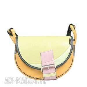 handmade torebki torebka damska skórzana listonoszka żółta na ramię słoń torbalski