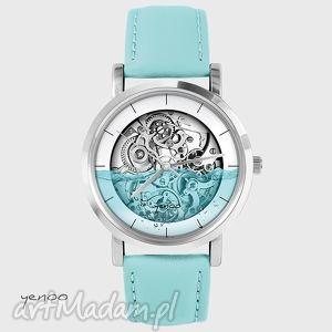 zegarek - wodny - steampunk - turkusowy, skórzany - zegarek, skórzany, steampunk