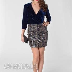 Welurowa sukienka z cekinową spódnicą r.34-42, cekiny, sylwester, aksamit, welur,