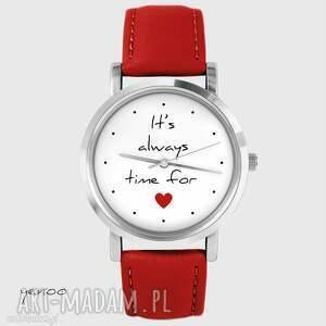 Prezent Zegarek - It is always time for love czerwony, skórzany, zegarek, skórzany