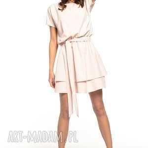 sukienka z podwójną spódnicą, t268, pudrowy róż, elegancka, sukienka, tkanina
