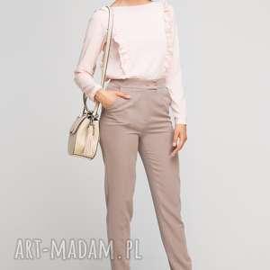 Spodnie bez mankietów, SD114 beż, wysokie, eleganckie, kant, beżowe, kieszenie