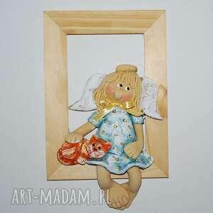 przyjaciel kot aniołek w ramce, aniołek, masa solna, prezent, na ścianę, ramka
