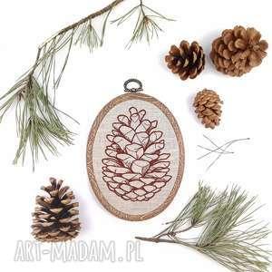 obrazek haftowany szyszka - ,obrazek,tamborek,las,szyszka,leśne,dekoracja,