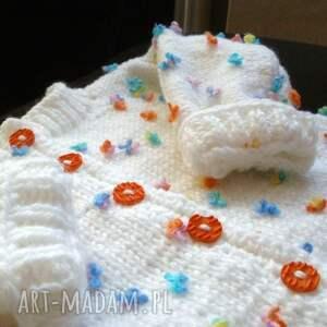 Sweterek- płaszczyk Łączka , rękodzieło, sweterek, płaszczyk, cieplutki, niemowlę