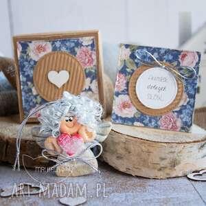 Aniołek dobrych słów personalizowana mini kartka, pudełeczko