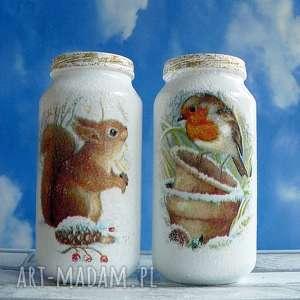 autorskie świąteczny prezent zima. Święta. Komplet dwóch szklanych słoiczków z kolekcji winter