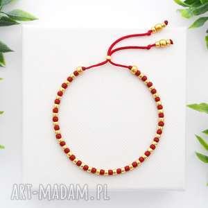 Bransoletka koralikowa Minimal Dots - Red and Gold, bransoletki, koralikowe