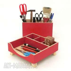 dom organizer - przybornik na biurko czerwony, przybornik, drewno, biurko