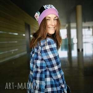 czapka damska patchworkowa smerfetka na podszewce, miękka, lekko rozciągliwa