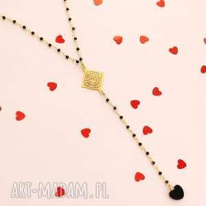 NASZYJNIK RÓŻANIEC serce onyks SREBRO 925, naszyjnik, różaniec, serce, srebro, onyks,