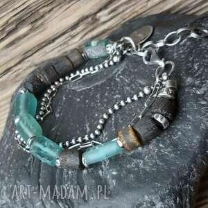 bransoletka srebrna ze szkłem afgańskim i bursztynem, srebro szkło afgańskie
