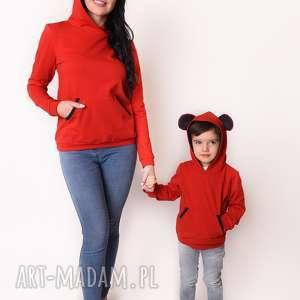 latori - bluza dziecięca z uszami kolekcji mama i synek ld47/1 czerwona, syn