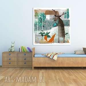 Obraz na płótnie - 80x80cm Lisek, jeleń i ptak wysyłka w 24h 0611, lisek,