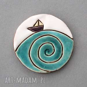 Ahoj - broszka ceramika broszki kopalnia ciepla minimalizm
