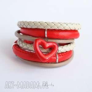 Prezent Bransoletka - Czerwone serce rzemienie, owijana, bransoletka, rzemienie