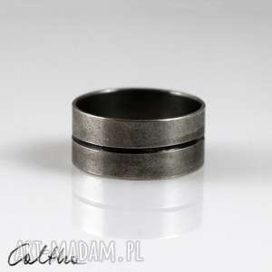 linia - metalowa obrączka (rozm. 21) 150426-03 - pierścionek metalowy srebrny