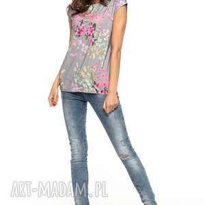 bluzka w kwiaty z krótkim rękawkiem, t278, ciemnoszary, bluzka, krótki
