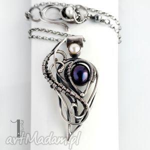 monochrome v black orchid ii srebrny naszyjnik z perłami - srebro, 925, wirewrapping