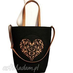 shopper bag folk 2 czarne serce - czech draft - xxl, rozeta, filcowa, duża, serduszko