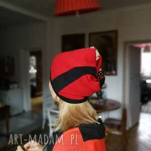 ruda klara czapka zimowa dzianina wełna patchworkowa damska - box m1