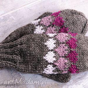 handmade rękawiczki brązowe walentynkowe