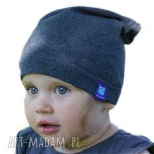 handmade dla dziecka czapka bawełniana, granatowa, niemowlęca