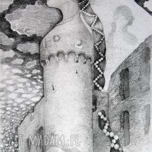 oryginalny prezent, pi art z warkoczem, rysunek, średniowiecze, perły, dama, portret