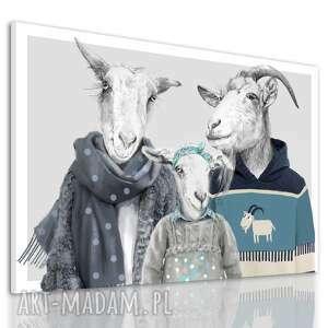 nowoczesny obraz na płótnie z kozami - rodzina kozłowskich córką 120x80cm