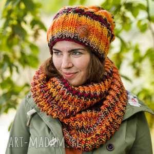 endorfina jesień, kolory jesieni, czapka, z pomponem, kolorowa, damska, ciepła