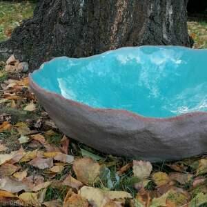 turkusowa nablatowa umywalka ceramiczna - ljuska, umywalka, rękodzieło, lazurowa