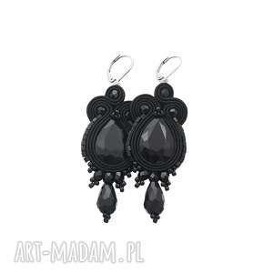 Kolczyki soutache licira black kavrila stylowe, czerń,