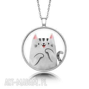 ręcznie zrobione naszyjniki medalion okrągły z grafiką kociak