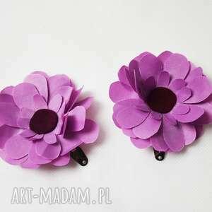 handmade ozdoby do włosów fioletowe kwiatki