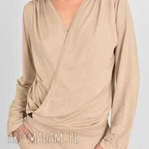 bluzka jola w kolorze beżowym, bluzki, spodnie, dres, bluzy, sukienki, szorty