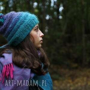 czapka turkusowo- wrzosowa, wełna rękodzieło ciepła, nakrycie głowy