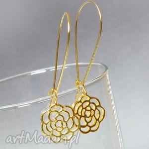 zŁote kwiaty subtelne ażurowe kolczyki pozłacane bigle - kwiat, złoty