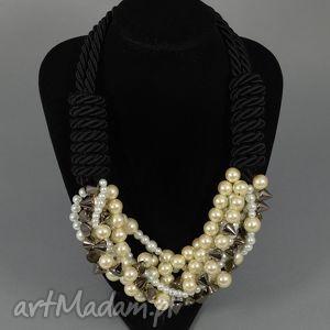 Kolia naszyjnik Mariah, elegancki, perłowy, naszyjnik, kolia, ćwieki, perły