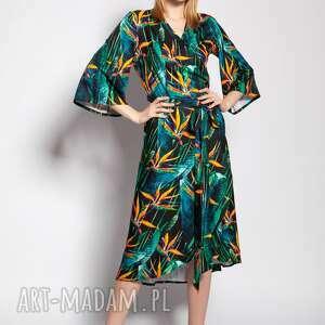 sukienka kopertowa, suk186 bambus, wiązana, wzór, rękaw motylek, wesele